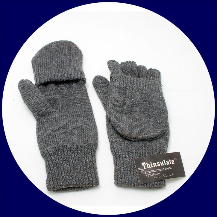 Astrogarten Strickfausthandschuh Shetland - klappbar, freie Finger, Gr. L-XL