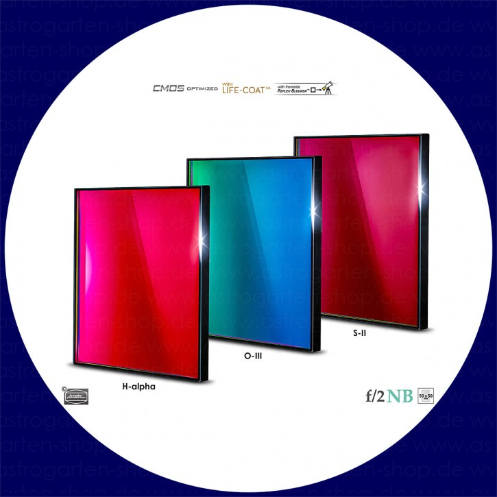 Baader H-alpha / O-III / S-II 6.5nm Schmalband (Narrowband) f/2 Highspeed Filtersatz 50x50mm - CMOS optimiert