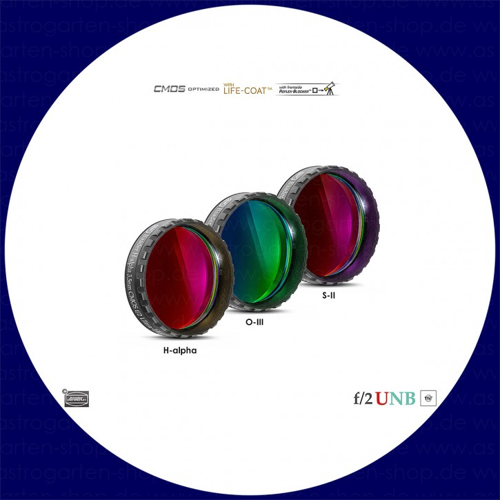 "Baader 3.5nm H-alpha / 4nm O-III / 4nm S-II Ultra-Schmalband (Narrowband) f/2 Highspeed Filtersatz 1¼"" - CMOS optimiert"