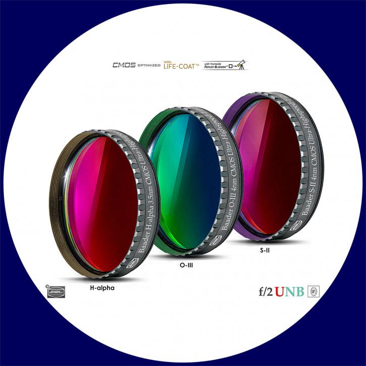 "Baader 3.5nm H-alpha / 4nm O-III / 4nm S-II Ultra-Schmalband (Narrowband) f/2 Highspeed Filtersatz 2"" - CMOS optimiert"