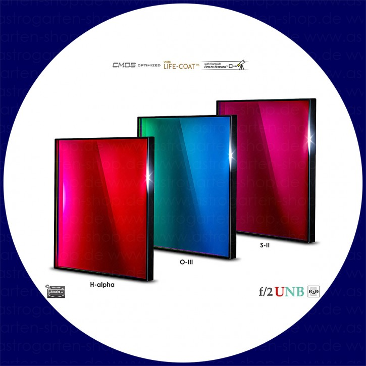 Baader 3.5nm H-alpha / 4nm O-III / 4nm S-II Ultra-Schmalband (Narrowband) f/2 Highspeed Filtersatz 50x50mm - CMOS optimiert