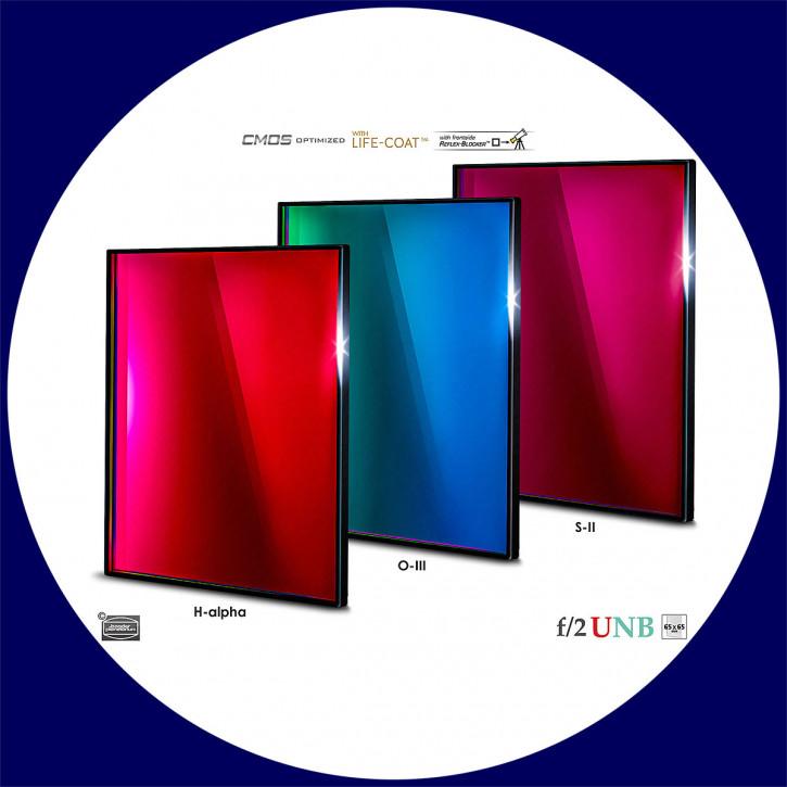 Baader 3.5nm H-alpha / 4nm O-III / 4nm S-II Ultra-Schmalband (Narrowband) f/2 Highspeed Filtersatz 65x65mm - CMOS optimiert