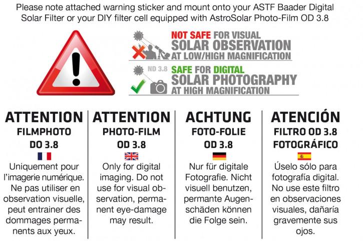 Baader Digital Solar Filter 160mm (FOTO - OD 3.8)