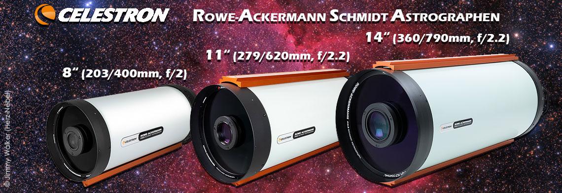 "Celestron RASA f/2 Astrographen-Familie: 8"", 11"" & 36cm"