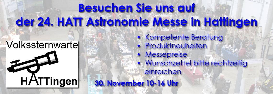 Besuchen Sie uns auf der Hattinger Astronomie-Messe am 24. November 2018 zwischen 10-16 Uhr.