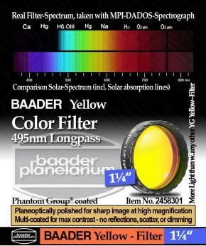 "Baader 1¼"" Okularfilter Gelb 495nm Langpass"