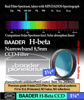 "Baader H-beta 8.5nm CCD Filter 1¼"""