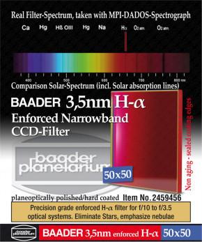 Baader Ultra-Narrowband 3.5nm H-alpha CCD-Filter 50x50mm