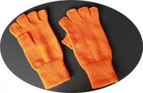 Strickhandschuh, halbe Finger - orange, S-M