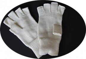 Strickhandschuh, halbe Finger - weiß, S-M