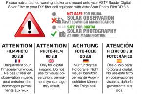 Baader Digital Solar Filter 80-280mm (BDSF - FOTO OD 3.8)